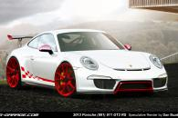 Porsche 991 GT3 RS White Red Speculative Render Spyshot Leak